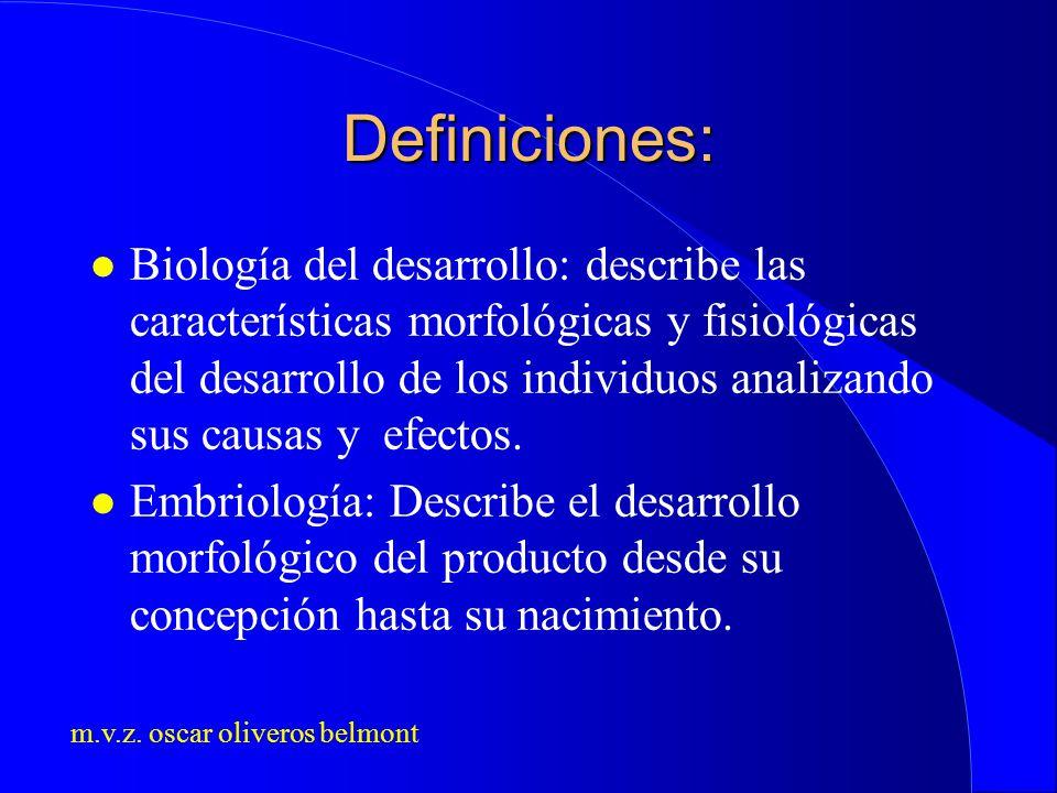 m.v.z. oscar oliveros belmont Definiciones: l Biología del desarrollo: describe las características morfológicas y fisiológicas del desarrollo de los