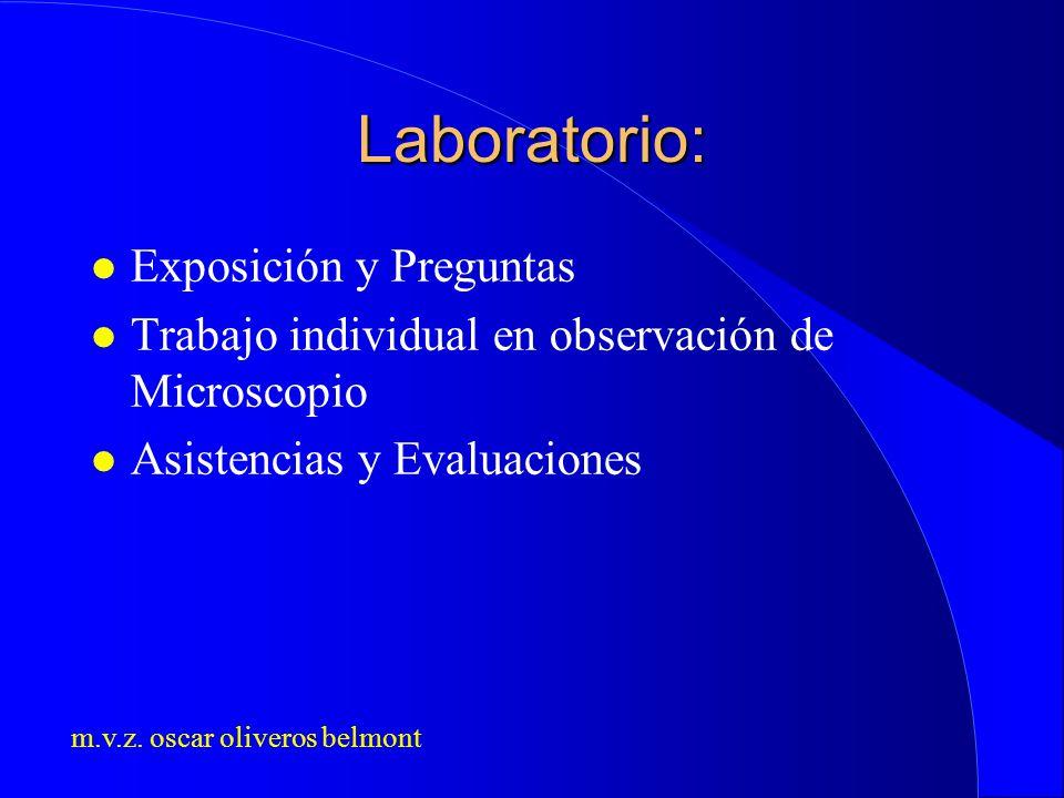m.v.z. oscar oliveros belmont Laboratorio: l Exposición y Preguntas l Trabajo individual en observación de Microscopio l Asistencias y Evaluaciones