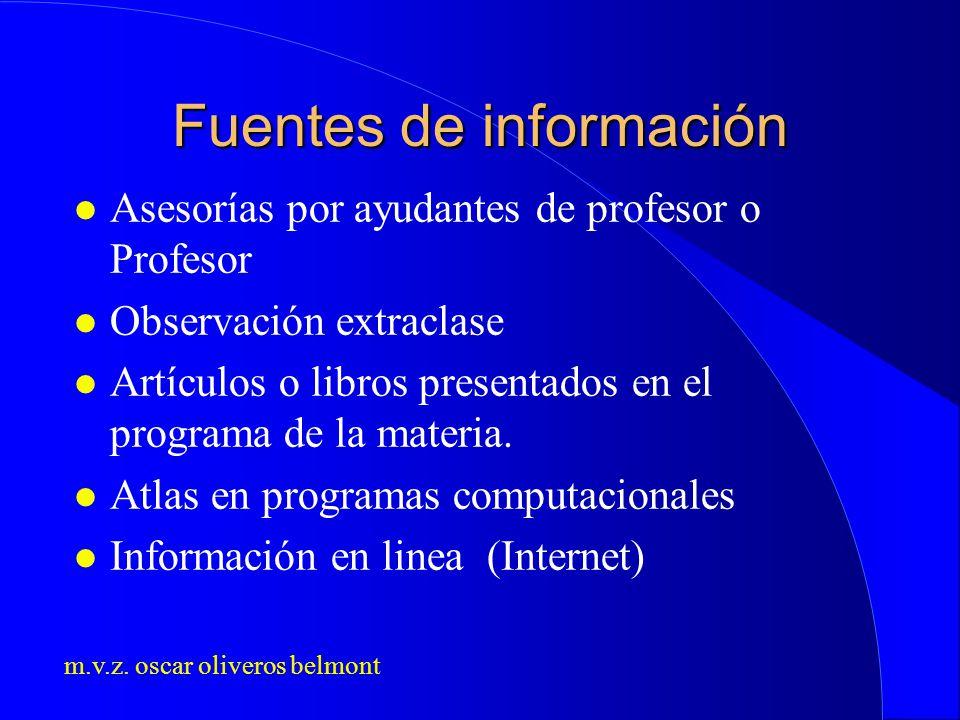 m.v.z. oscar oliveros belmont Fuentes de información l Asesorías por ayudantes de profesor o Profesor l Observación extraclase l Artículos o libros pr
