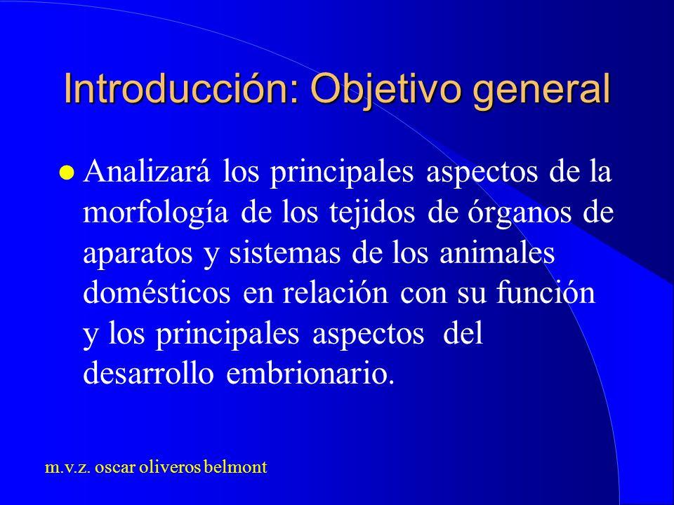 m.v.z. oscar oliveros belmont Introducción: Objetivo general l Analizará los principales aspectos de la morfología de los tejidos de órganos de aparat