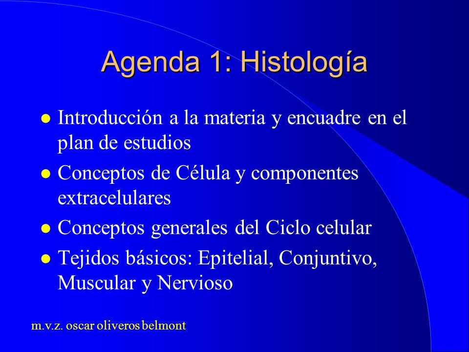 m.v.z. oscar oliveros belmont Agenda 1: Histología l Introducción a la materia y encuadre en el plan de estudios l Conceptos de Célula y componentes e