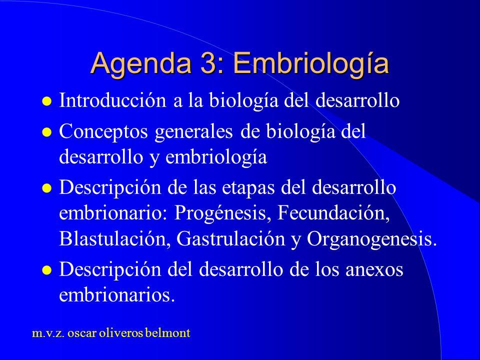 m.v.z. oscar oliveros belmont Agenda 3: Embriología l Introducción a la biología del desarrollo l Conceptos generales de biología del desarrollo y emb