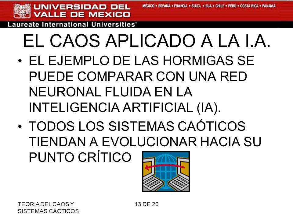 TEORIA DEL CAOS Y SISTEMAS CAOTICOS 13 DE 20 EL CAOS APLICADO A LA I.A.