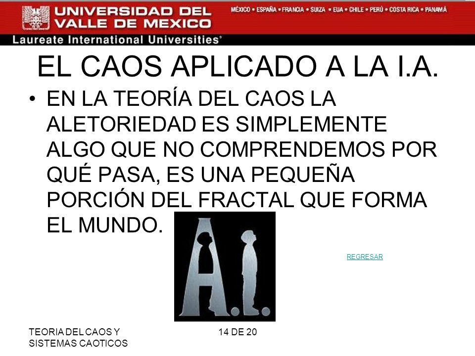 TEORIA DEL CAOS Y SISTEMAS CAOTICOS 14 DE 20 EL CAOS APLICADO A LA I.A.