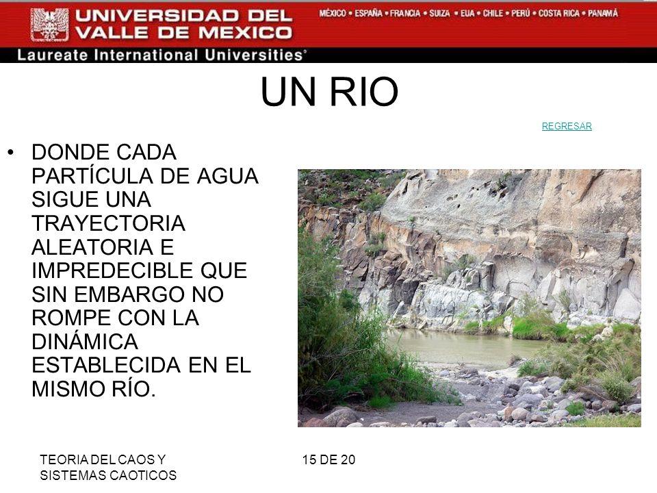 TEORIA DEL CAOS Y SISTEMAS CAOTICOS 15 DE 20 UN RIO DONDE CADA PARTÍCULA DE AGUA SIGUE UNA TRAYECTORIA ALEATORIA E IMPREDECIBLE QUE SIN EMBARGO NO ROMPE CON LA DINÁMICA ESTABLECIDA EN EL MISMO RÍO.