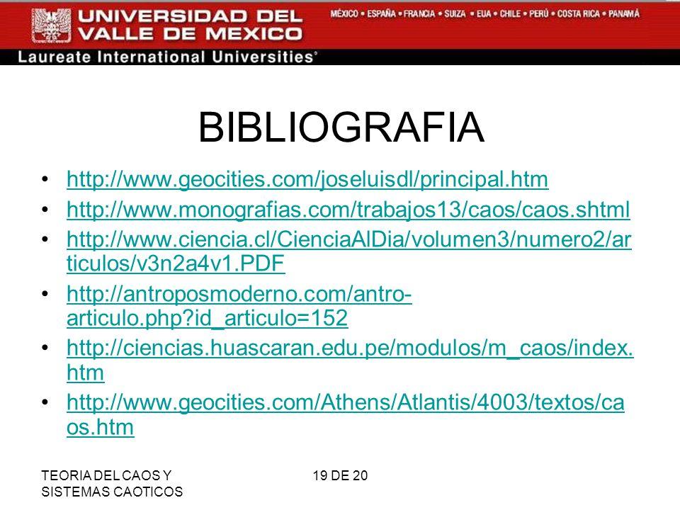 TEORIA DEL CAOS Y SISTEMAS CAOTICOS 19 DE 20 BIBLIOGRAFIA http://www.geocities.com/joseluisdl/principal.htm http://www.monografias.com/trabajos13/caos/caos.shtml http://www.ciencia.cl/CienciaAlDia/volumen3/numero2/ar ticulos/v3n2a4v1.PDFhttp://www.ciencia.cl/CienciaAlDia/volumen3/numero2/ar ticulos/v3n2a4v1.PDF http://antroposmoderno.com/antro- articulo.php?id_articulo=152http://antroposmoderno.com/antro- articulo.php?id_articulo=152 http://ciencias.huascaran.edu.pe/modulos/m_caos/index.
