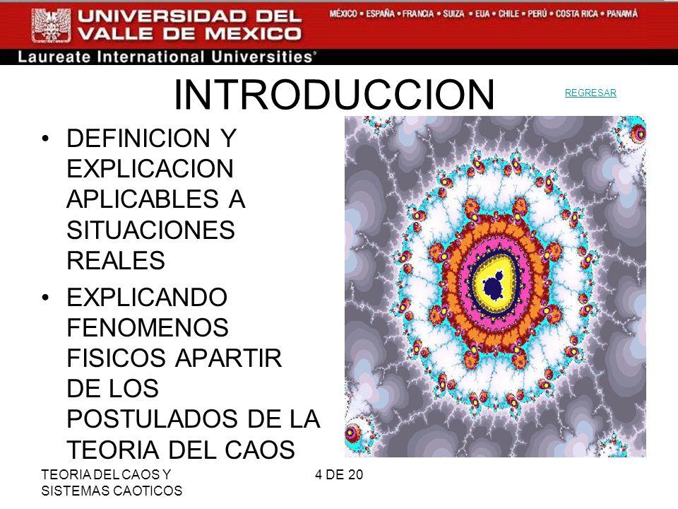 TEORIA DEL CAOS Y SISTEMAS CAOTICOS 5 DE 20 ENTENDER LA TEORIA DEL CAOS CAOS ¿IDEA NEGATIVA.