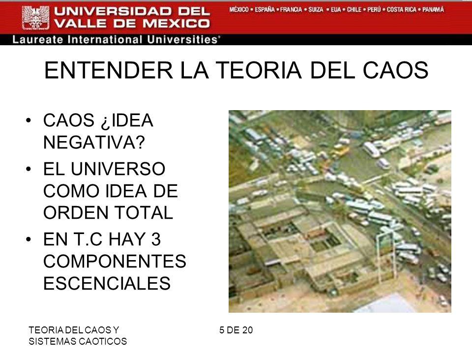 TEORIA DEL CAOS Y SISTEMAS CAOTICOS 16 DE 20 PENDULO CUENTA CON UNA ORBITA QUE ES MEDIDA Y PREDECIBLE.