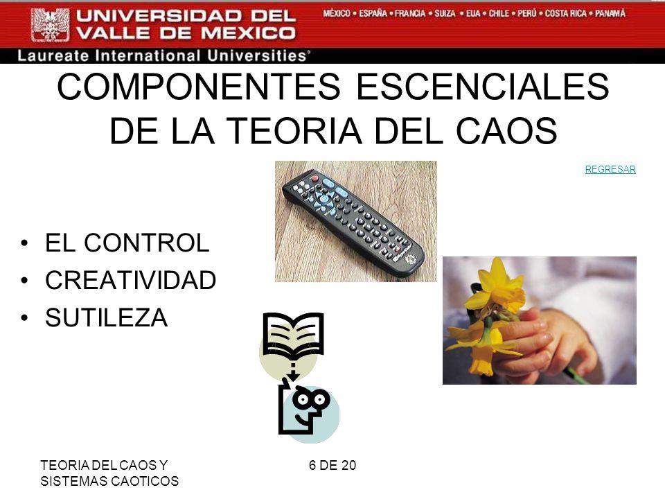 TEORIA DEL CAOS Y SISTEMAS CAOTICOS 6 DE 20 COMPONENTES ESCENCIALES DE LA TEORIA DEL CAOS EL CONTROL CREATIVIDAD SUTILEZA REGRESAR