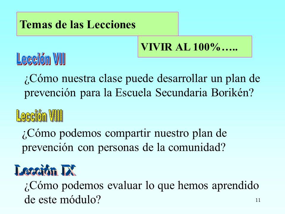 11 ¿Cómo nuestra clase puede desarrollar un plan de prevención para la Escuela Secundaria Borikén? VIVIR AL 100%….. ¿Cómo podemos compartir nuestro pl