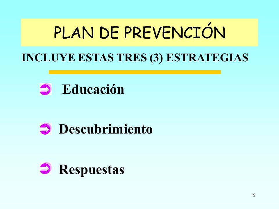 6 Educación Descubrimiento Respuestas INCLUYE ESTAS TRES (3) ESTRATEGIAS PLAN DE PREVENCIÓN