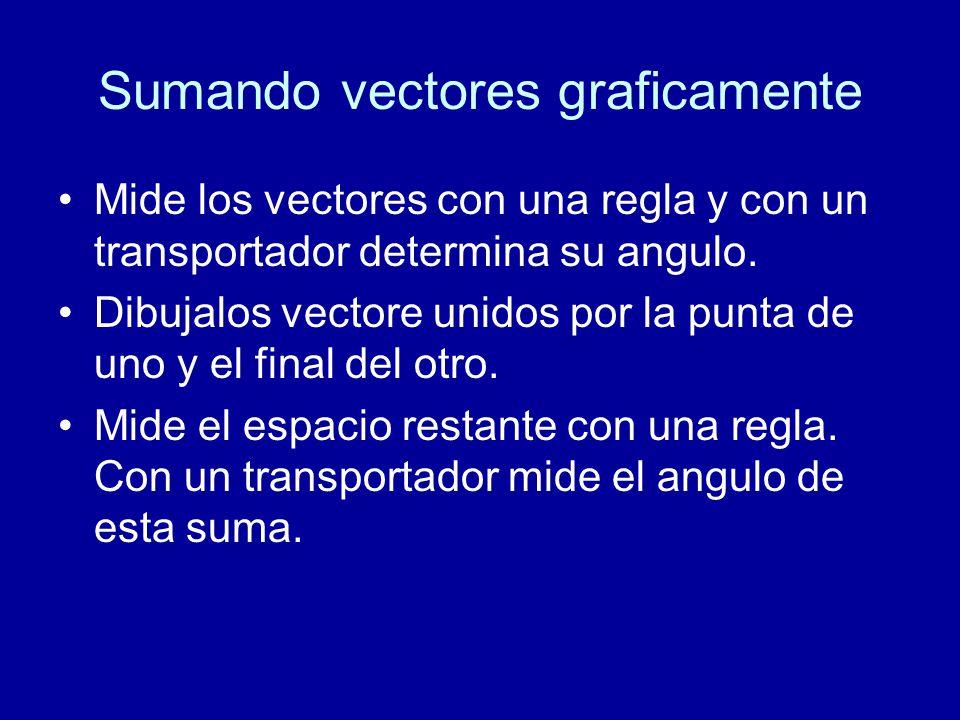 Sumando vectores graficamente Mide los vectores con una regla y con un transportador determina su angulo.