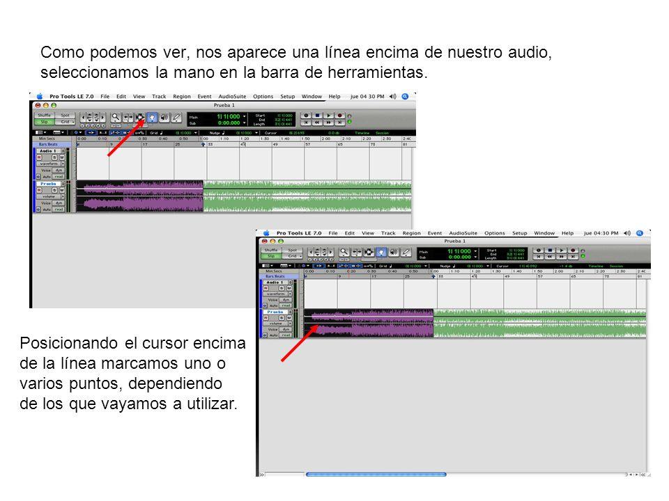 Como podemos ver, nos aparece una línea encima de nuestro audio, seleccionamos la mano en la barra de herramientas. Posicionando el cursor encima de l