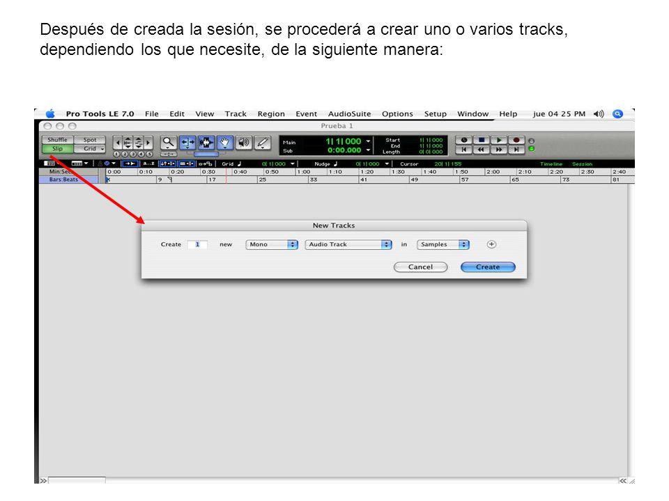 Después de creada la sesión, se procederá a crear uno o varios tracks, dependiendo los que necesite, de la siguiente manera: