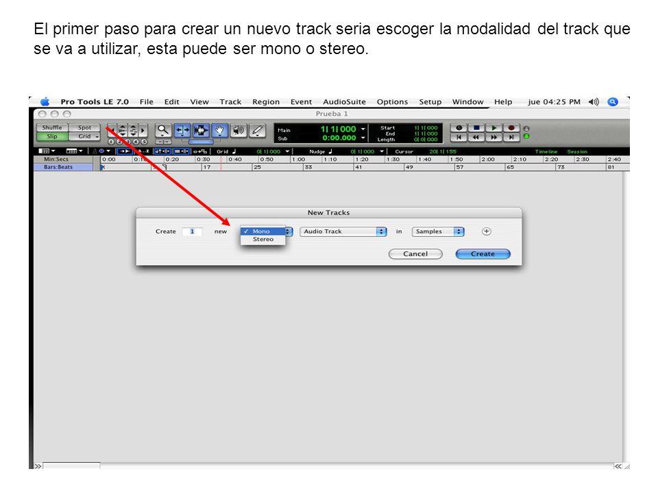 A continuación se seleccionara el tipo de track que se va a utilizar, este puede ser un track de audio, un canal auxiliar, canal midi o un control maestro.