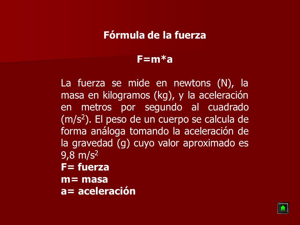 Fórmula de la fuerza F=m*a La fuerza se mide en newtons (N), la masa en kilogramos (kg), y la aceleración en metros por segundo al cuadrado (m/s 2 ).