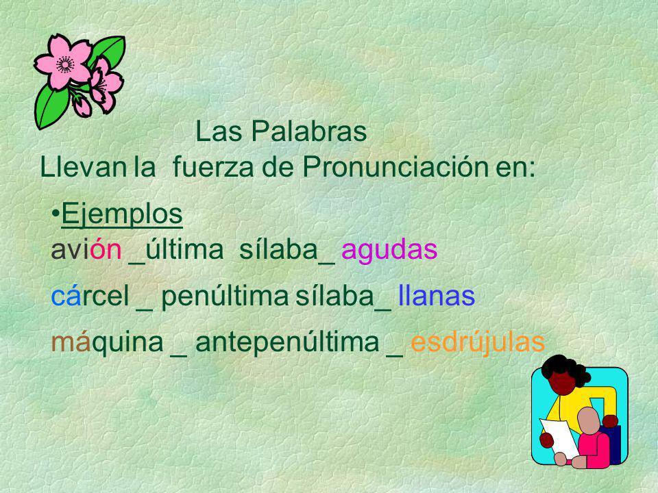 Agudas Las palabras agudas :Llevan la fuerza de pronunciación en la ultima sílaba.Cuando termina en vocal o en consonante n ó s.s.