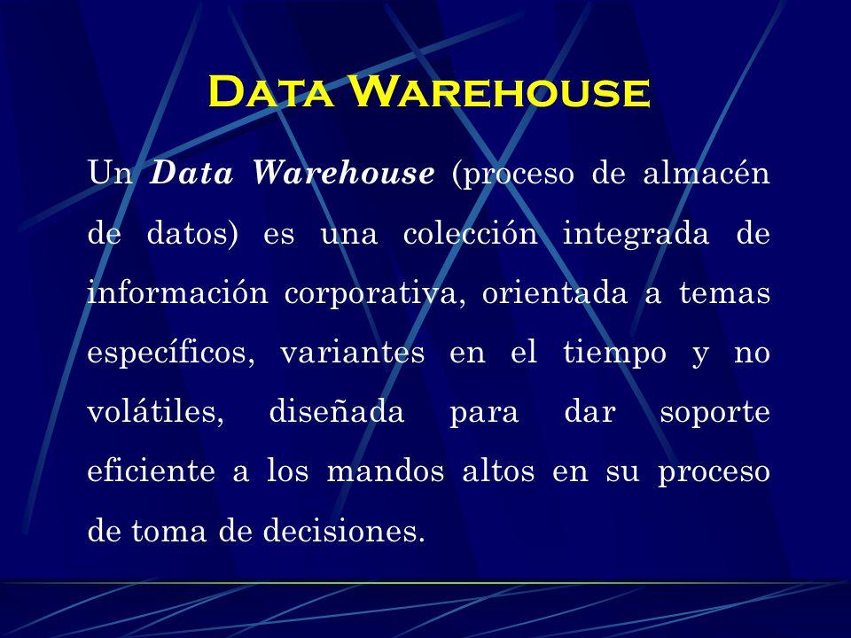 Un Data Warehouse nos permite la integración de datos corporativos en un depósito único (warehouse), donde los usuarios pueden consultar o analizar los datos del negocio, para la sustentar toma de decisiones.