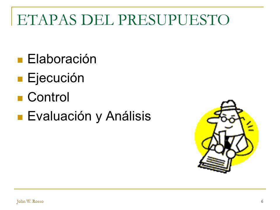 John W. Rosso6 ETAPAS DEL PRESUPUESTO Elaboración Ejecución Control Evaluación y Análisis