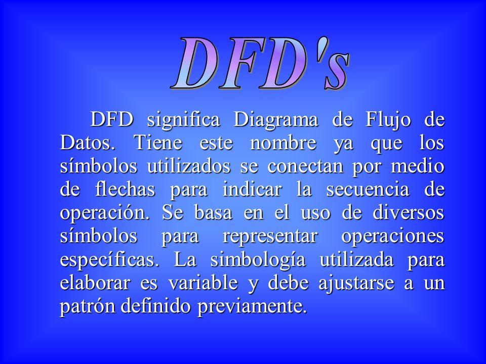 DFD significa Diagrama de Flujo de Datos. Tiene este nombre ya que los símbolos utilizados se conectan por medio de flechas para indicar la secuencia