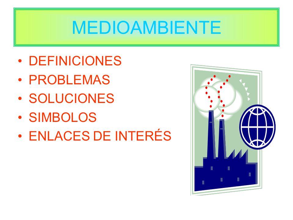 MEDIOAMBIENTE DEFINICIONES PROBLEMAS SOLUCIONES SIMBOLOS ENLACES DE INTERÉS