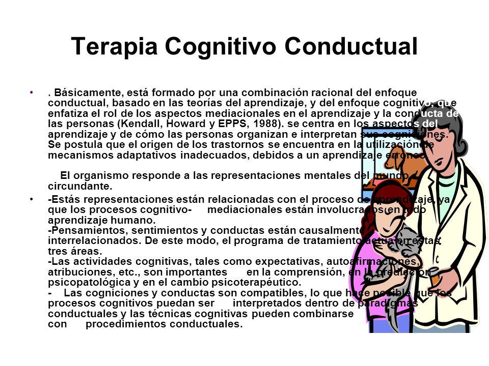 Terapia Cognitivo Conductual. Básicamente, está formado por una combinación racional del enfoque conductual, basado en las teorías del aprendizaje, y