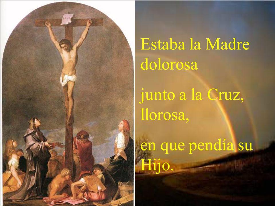 Estaba la Madre dolorosa junto a la Cruz, llorosa, en que pendía su Hijo.