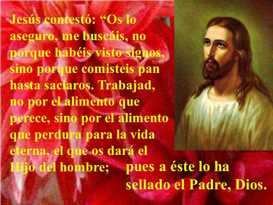 Jesús contestó: Os lo aseguro, me buscáis, no porque habéis visto signos, sino porque comisteis pan hasta saciaros.