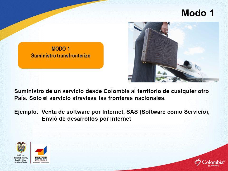 Modo 1 MODO 1 Suministro transfronterizo Suministro de un servicio desde Colombia al territorio de cualquier otro País.
