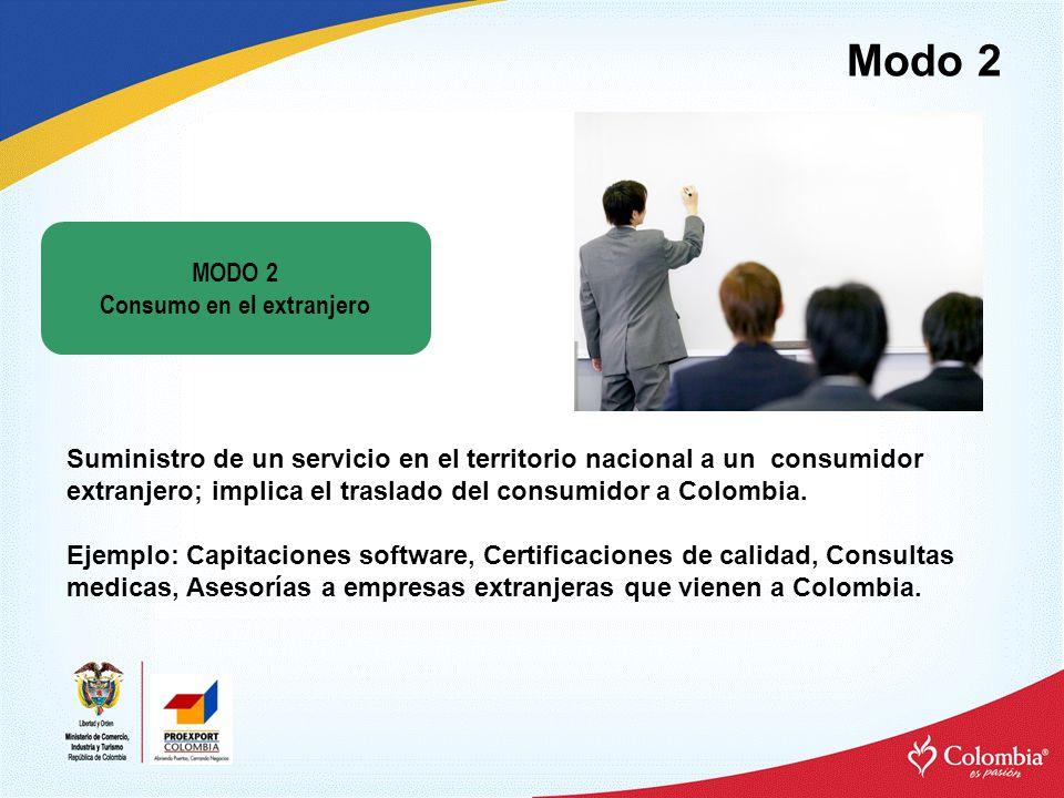 Modo 2 Suministro de un servicio en el territorio nacional a un consumidor extranjero; implica el traslado del consumidor a Colombia.