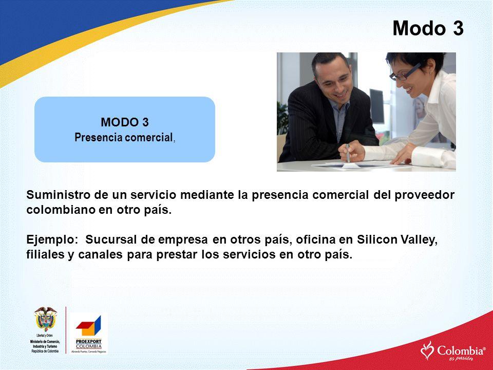 Modo 3 Suministro de un servicio mediante la presencia comercial del proveedor colombiano en otro país.