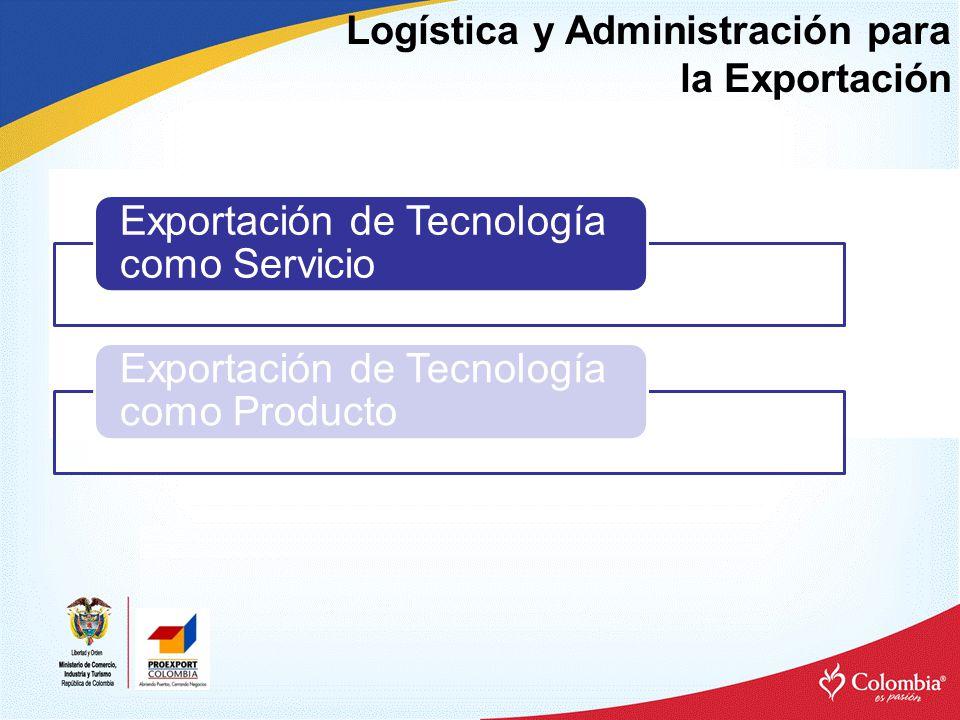 Logística y Administración para la Exportación Exportación de Tecnología como Servicio Exportación de Tecnología como Producto
