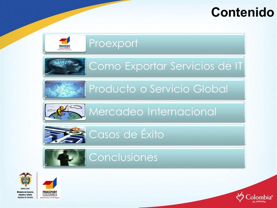 Contenido Proexport Como Exportar Servicios de IT Producto o Servicio Global Mercadeo Internacional Casos de Éxito Conclusiones