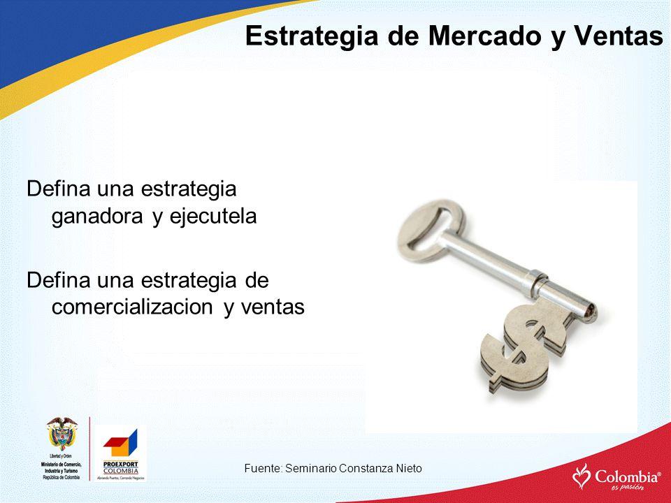 Estrategia de Mercado y Ventas Fuente: Seminario Constanza Nieto Defina una estrategia ganadora y ejecutela Defina una estrategia de comercializacion y ventas
