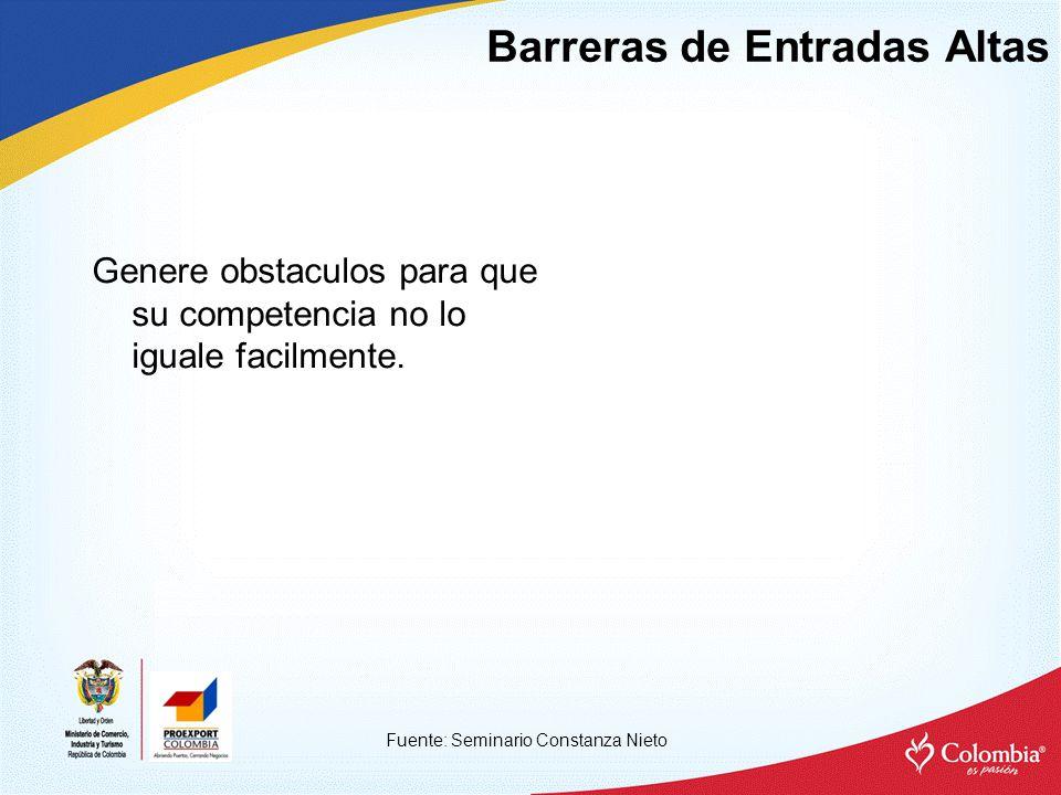 Barreras de Entradas Altas Fuente: Seminario Constanza Nieto Genere obstaculos para que su competencia no lo iguale facilmente.