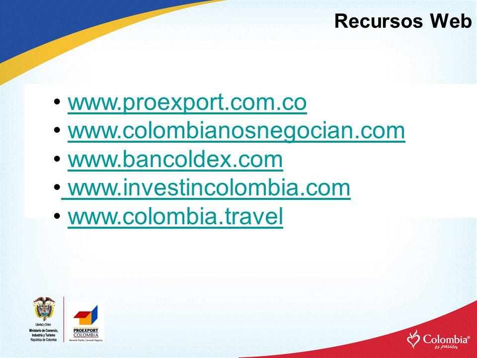 Recursos Web www.proexport.com.co www.colombianosnegocian.com www.bancoldex.com www.investincolombia.com www.investincolombia.com www.colombia.travel