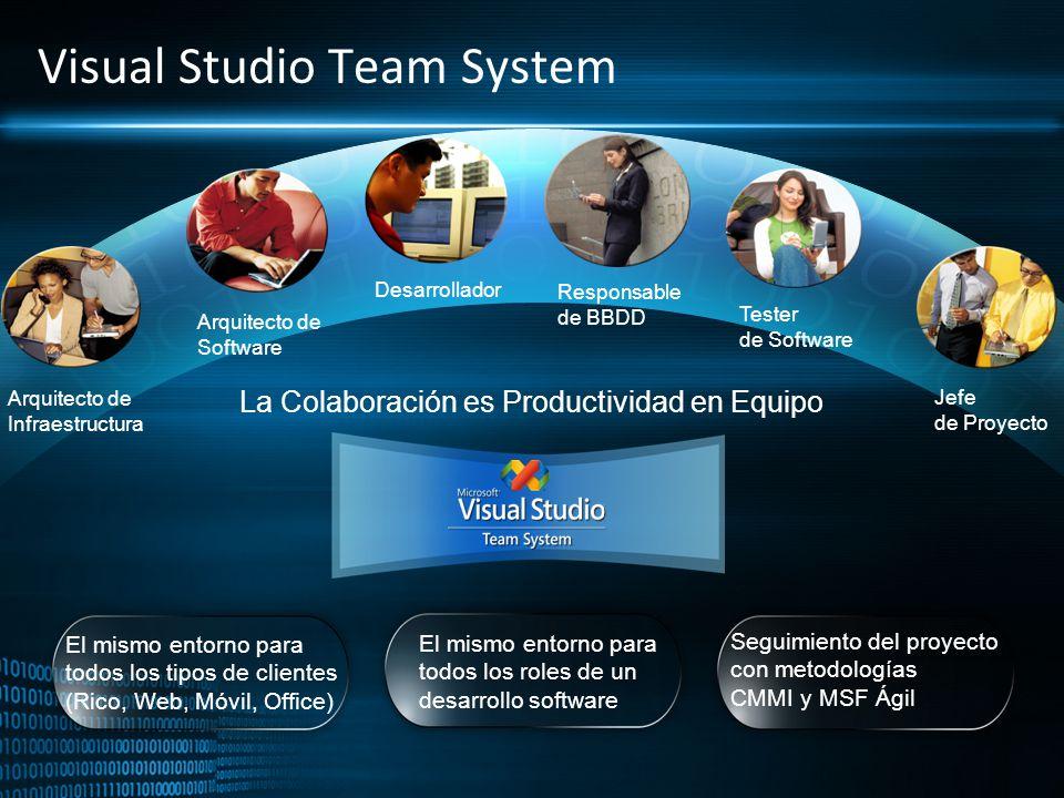 Visual Studio Team System Arquitecto de Infraestructura Arquitecto de Software Jefe de Proyecto Desarrollador Tester de Software Responsable de BBDD L
