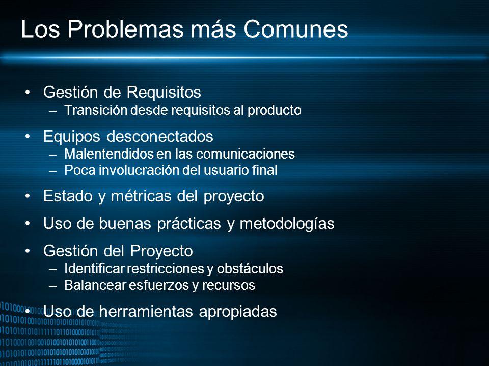 Los Problemas más Comunes Gestión de Requisitos –Transición desde requisitos al producto Equipos desconectados –Malentendidos en las comunicaciones –P