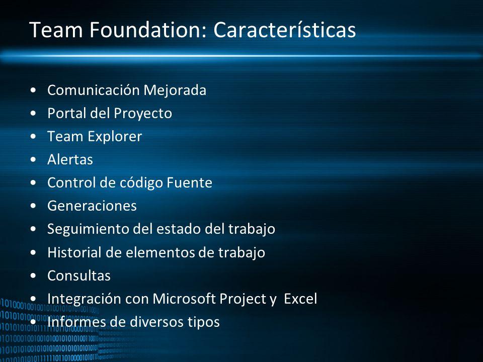 Team Foundation: Características Comunicación Mejorada Portal del Proyecto Team Explorer Alertas Control de código Fuente Generaciones Seguimiento del