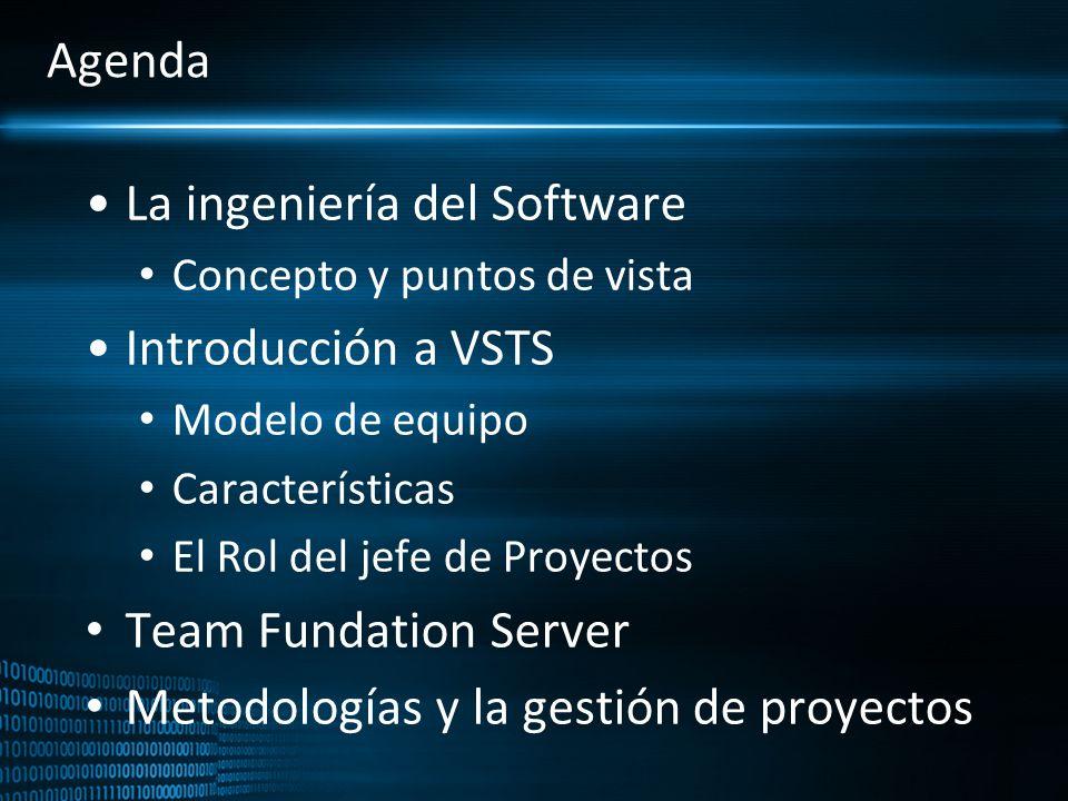 Agenda La ingeniería del Software Concepto y puntos de vista Introducción a VSTS Modelo de equipo Características El Rol del jefe de Proyectos Team Fu