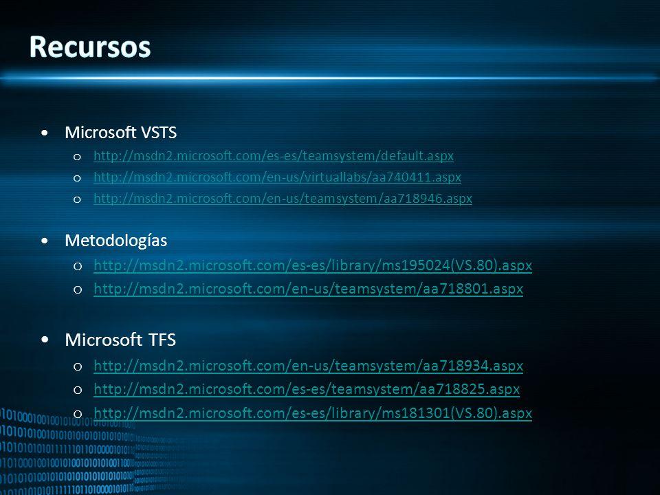 Microsoft VSTS o http://msdn2.microsoft.com/es-es/teamsystem/default.aspx http://msdn2.microsoft.com/es-es/teamsystem/default.aspx o http://msdn2.micr