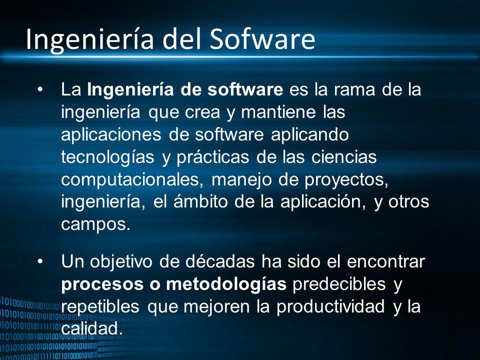 Ingeniería del Sofware La Ingeniería de software es la rama de la ingeniería que crea y mantiene las aplicaciones de software aplicando tecnologías y