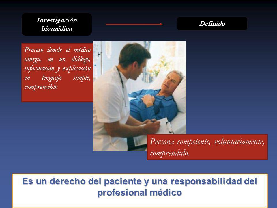 Es un derecho del paciente y una responsabilidad del profesional médico Proceso donde el médico otorga, en un diálogo, información y explicación en lenguaje simple, comprensible Definido Investigación biomédica Persona competente, voluntariamente, comprendido.