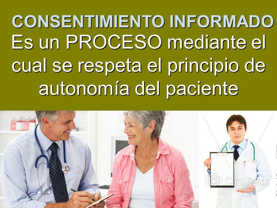 CONSENTIMIENTO INFORMADO Es un PROCESO mediante el cual se respeta el principio de autonomía del paciente