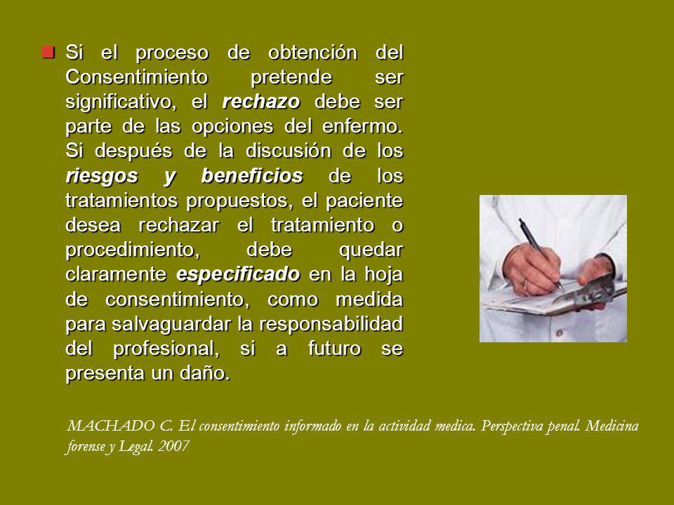 Si el proceso de obtención del Consentimiento pretende ser significativo, el rechazo debe ser parte de las opciones del enfermo.