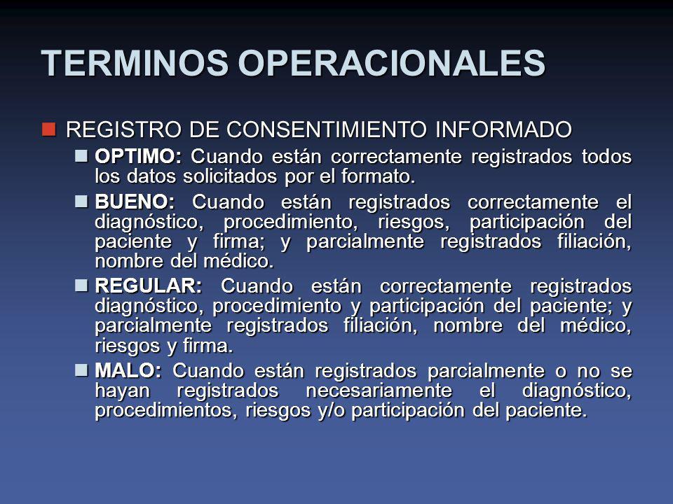 TERMINOS OPERACIONALES REGISTRO DE CONSENTIMIENTO INFORMADO REGISTRO DE CONSENTIMIENTO INFORMADO OPTIMO: Cuando están correctamente registrados todos los datos solicitados por el formato.