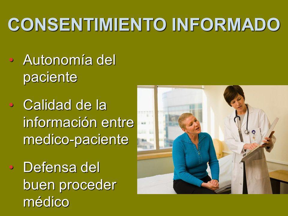 Autonomía del pacienteAutonomía del paciente Calidad de la información entre medico-pacienteCalidad de la información entre medico-paciente Defensa del buen proceder médicoDefensa del buen proceder médico