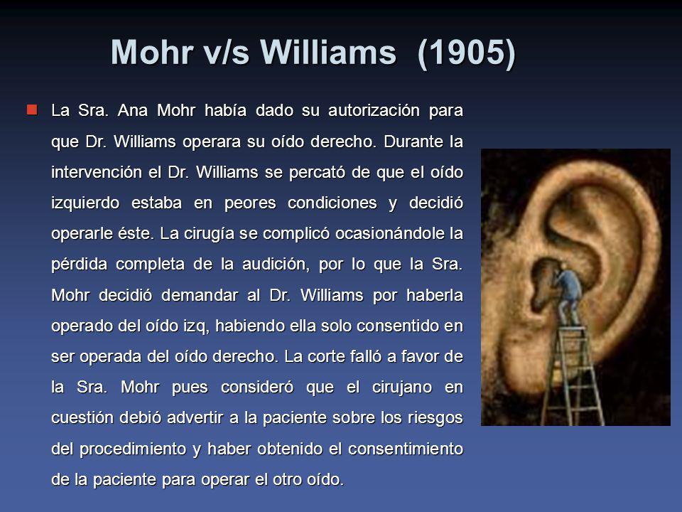Mohr v/s Williams (1905) La Sra.Ana Mohr había dado su autorización para que Dr.