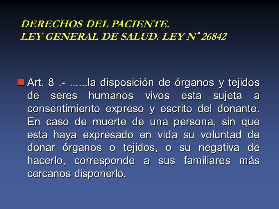 Art. 8.-......la disposición de órganos y tejidos de seres humanos vivos esta sujeta a consentimiento expreso y escrito del donante. En caso de muerte