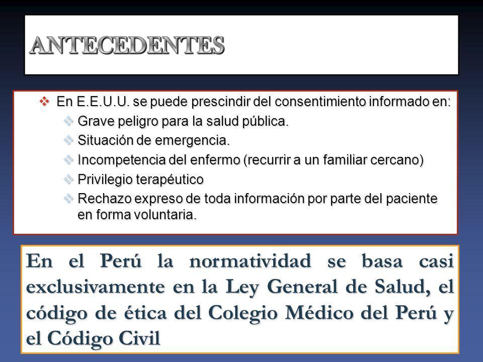 En E.E.U.U.se puede prescindir del consentimiento informado en: En E.E.U.U.